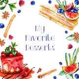 Postcard with watercolor pastries, berries and sweets. Royalty Free Stock Photo