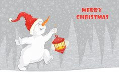 The postcard, which shows a running Christmas snowman with a flashlight. vector illustration
