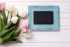 Postcard with white and pink flowers and empty blackboard Royalty Free Stock Photo