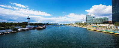 Postcard from Wien and Danube. Peaceful Stock Photos