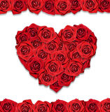 Postcard wih red roses in the shape of the heart. Red roses in the shape of the heart. Postcard with white background royalty free stock images