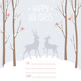 Postcard winter deer Stock Photos