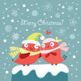 Postcard Winter Love Royalty Free Stock Images
