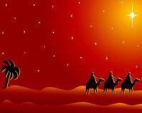 Postcard wisemen to bethlehem Stock Images