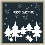 Postcard wishing a Merry Christmas in a retro style Royalty Free Stock Photography
