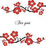 Postcard With Flowering Branches. Royalty Free Stock Photography