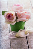 Postcard withpastel roses in little bucket Stock Photography
