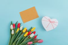 Spring tulips frame on background, top view. Postcard for Women`s Day. stock image