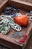 Postcard with women's jewelry trinkets Royalty Free Stock Photography
