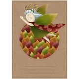 Postcard with a wood nymph. Little girl in a circle of leaves. Princess on a paper background. A3 stock illustration
