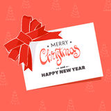 Postcard with the words Merry Christmas. Christmas greeting card with the words Merry Christmas on a red background Stock Photos