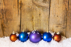 Postcard with xmas balls Stock Photo