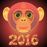 Postcard for 2016 year with colorful head of monkey. Illustration Stock Photo