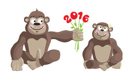 Postcard Year of the Monkey 2016. Royalty Free Stock Images