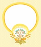 Postcard with yellow frame and yellow flower. Royalty Free Stock Photography