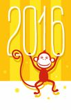 Postcard yellow, gold, red monkey, 2016, New year. Christmas card with red monkey 2016 and figures on a yellow striped background Royalty Free Stock Images