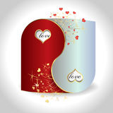 Postcard Yin and Yang. With hearts Stock Photo