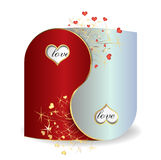 Postcard Yin and Yang Valentine`s Day Stock Photography