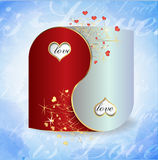 Postcard Yin and Yang Valentine`s Day Stock Image