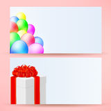 Postcards with balloons and gift Royalty Free Stock Images