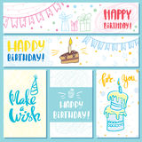 Postcards and banners Happy Birthday Stock Photography