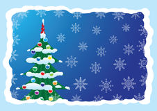 Postcards from the Christmas tree. And snowflakes on a blue background vector illustration