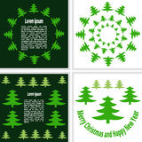 Postcards consisting of Christmas trees. On a green and white background Royalty Free Stock Photo