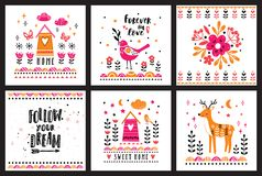 Postcards with cute illustrations. Collection for children`s prints, greetings, posters, t-shirt, packaging. Royalty Free Stock Photography