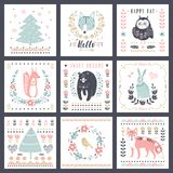 Postcards with cute illustrations. Vector set for children`s prints, greetings, posters, t-shirt, packaging. Royalty Free Stock Photography