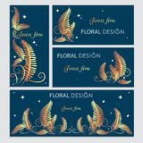 Postcards designs with golden fern. Flowering forest fern at night.  Wedding set. Floral frame set with place for text. The image can be used Invitation card Royalty Free Stock Photography