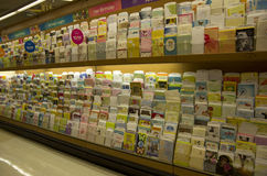Postcards greeting cards in store Stock Photos