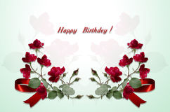 Postcards Happy Birthday of bouquets red roses and red bow Stock Photos