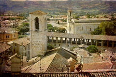 Postcards from Italy (series). Artistic work of my own in retro style - Postcard from Italy. - Gubbio, Umbria, Italy Royalty Free Stock Image