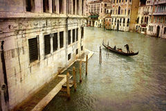 Postcards from Italy (series). Artistic work of my own in retro style - Postcard from Italy. - Gondola Grand Canal - Venice Stock Images