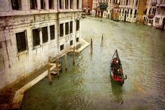Postcards from Italy (series). Artistic work of my own in retro style - Postcard from Italy. - Gondola Grand Canal - Venice Royalty Free Stock Image