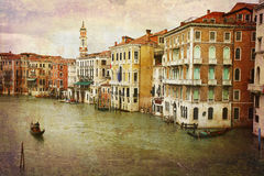 Postcards from Italy (series). Artistic work of my own in retro style - Postcard from Italy. - Gondolas Grand Canal - Venice Stock Image