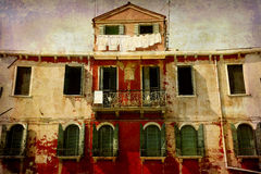 Postcards from Italy (series). Artistic work of my own in retro style - Postcard from Italy. - Beautiful old facade - the island Murano, Venice Royalty Free Stock Photography