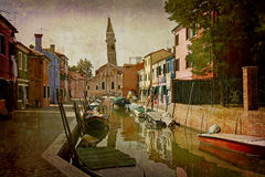 Postcards from Italy (series). Artistic work of my own in retro style - Postcard from Italy. - Burao - Venice Stock Image