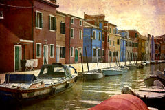 Postcards from Italy (series). Artistic work of my own in retro style - Postcard from Italy. - Burao - Venice Stock Photo