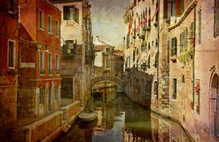 Postcards from Italy (series). Artistic work of my own in retro style - Postcard from Italy. - Urban Venice Stock Photos