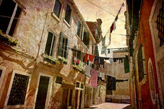 Postcards from Italy (series). Artistic work of my own in retro style - Postcard from Italy. - Clotheslines - Venice Royalty Free Stock Photos
