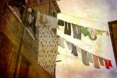 Postcards from Italy (series). Artistic work of my own in retro style - Postcard from Italy. - Clotheslinesl - Venice Royalty Free Stock Photos