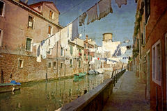 Postcards from Italy (series). Artistic work of my own in retro style - Postcard from Italy. - Washing day - Venice Royalty Free Stock Photos