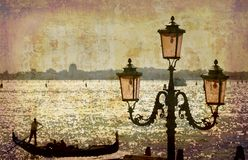 Postcards from Italy (series). Artistic work of my own in retro style - Postcard from Italy. - Gondola and lamp - Venice Royalty Free Stock Images