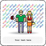 Postcards man and woman with bouquet Stock Images