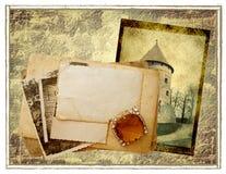 Postcards old background. Stack of old postcards in grunge background stock image