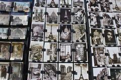 Postcards from Paris. A Postcard Display Outside of a Paris Souvenir Shop stock photo