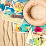 Postcards In The Sand. With summer straw hat Stock Photos