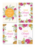 Floral greeting cards. A set of bright posters, templates for leaflets. Postcards. Set. A collection of templates for drawing greeting cards, leaflets royalty free illustration