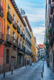 Postcards from Spain.  Single lane alley street in the City of Madrid, Spain. Royalty Free Stock Photos